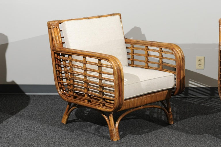 Mid-Century Modern Beautiful Restored Pair of Birdcage Style Rattan Loungers, circa 1955 For Sale