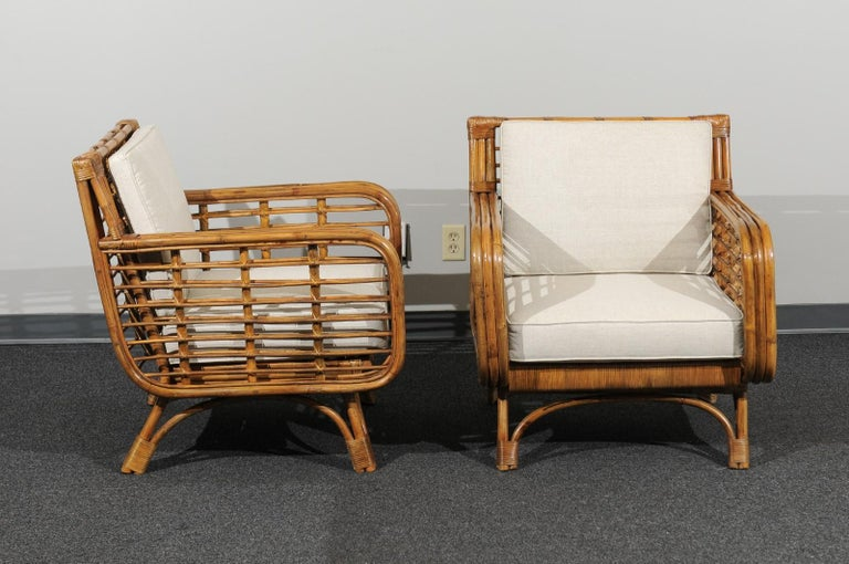 Beautiful Restored Pair of Birdcage Style Rattan Loungers, circa 1955 In Excellent Condition For Sale In Atlanta, GA