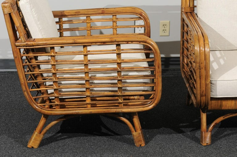Mid-20th Century Beautiful Restored Pair of Birdcage Style Rattan Loungers, circa 1955 For Sale