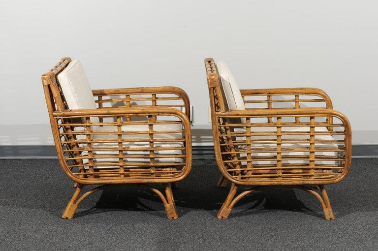 Cane Beautiful Restored Pair of Birdcage Style Rattan Loungers, circa 1955 For Sale