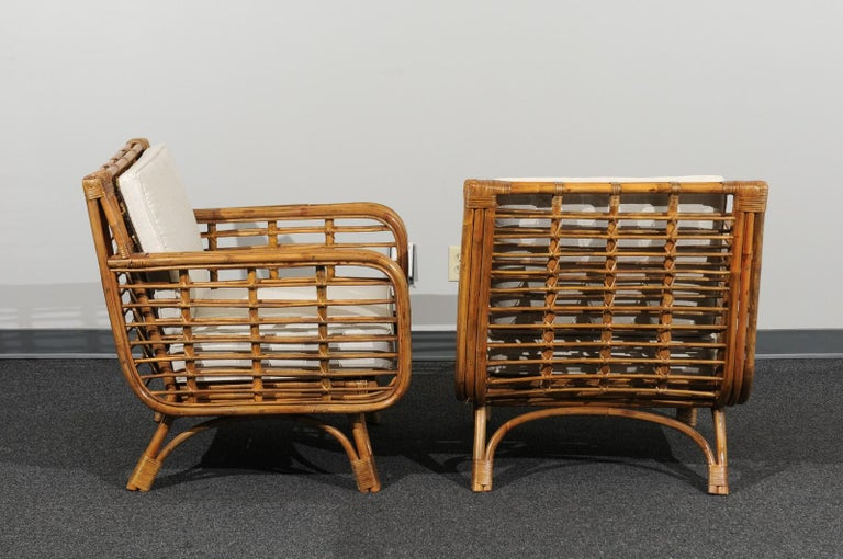 Beautiful Restored Pair of Birdcage Style Rattan Loungers, circa 1955 For Sale 1