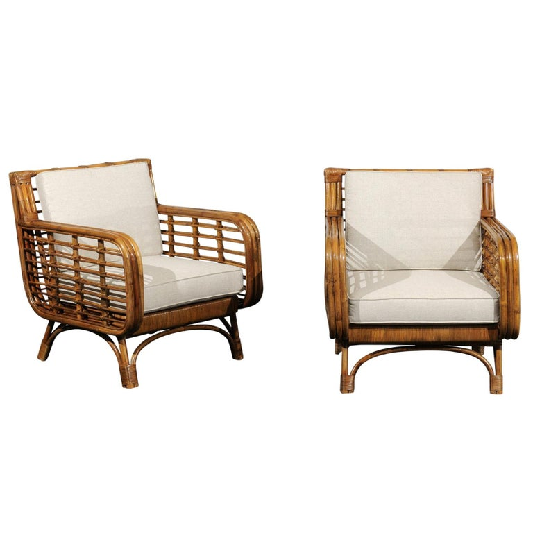 Beautiful Restored Pair of Birdcage Style Rattan Loungers, circa 1955 For Sale