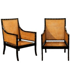 Beautiful Restored Pair of Large Scale Double-Sided Cane Club Chairs