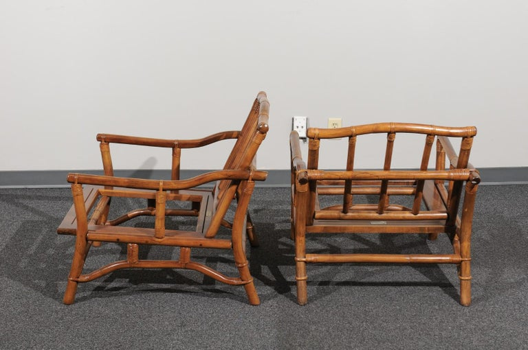 Beautiful Restored Pair of Pagoda Style Loungers by Ficks Reed, circa 1970 For Sale 3
