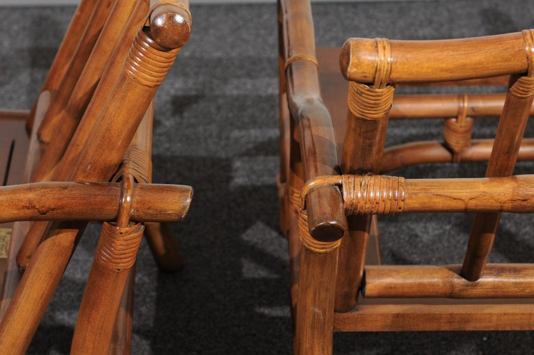 Beautiful Restored Pair of Pagoda Style Loungers by Ficks Reed, circa 1970 For Sale 4