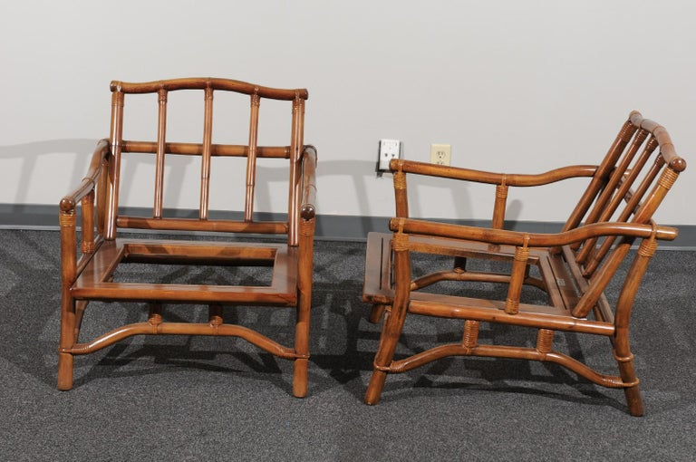 Beautiful Restored Pair of Pagoda Style Loungers by Ficks Reed, circa 1970 For Sale 5