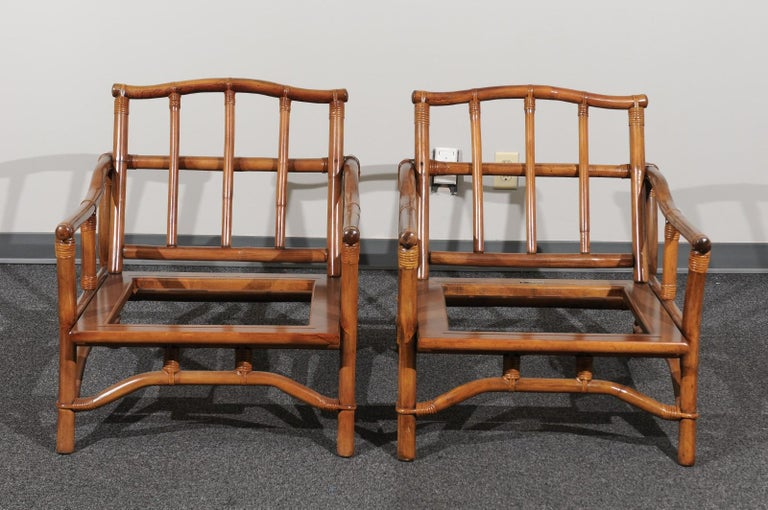 Beautiful Restored Pair of Pagoda Style Loungers by Ficks Reed, circa 1970 For Sale 6