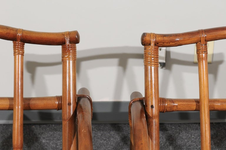 Beautiful Restored Pair of Pagoda Style Loungers by Ficks Reed, circa 1970 For Sale 8