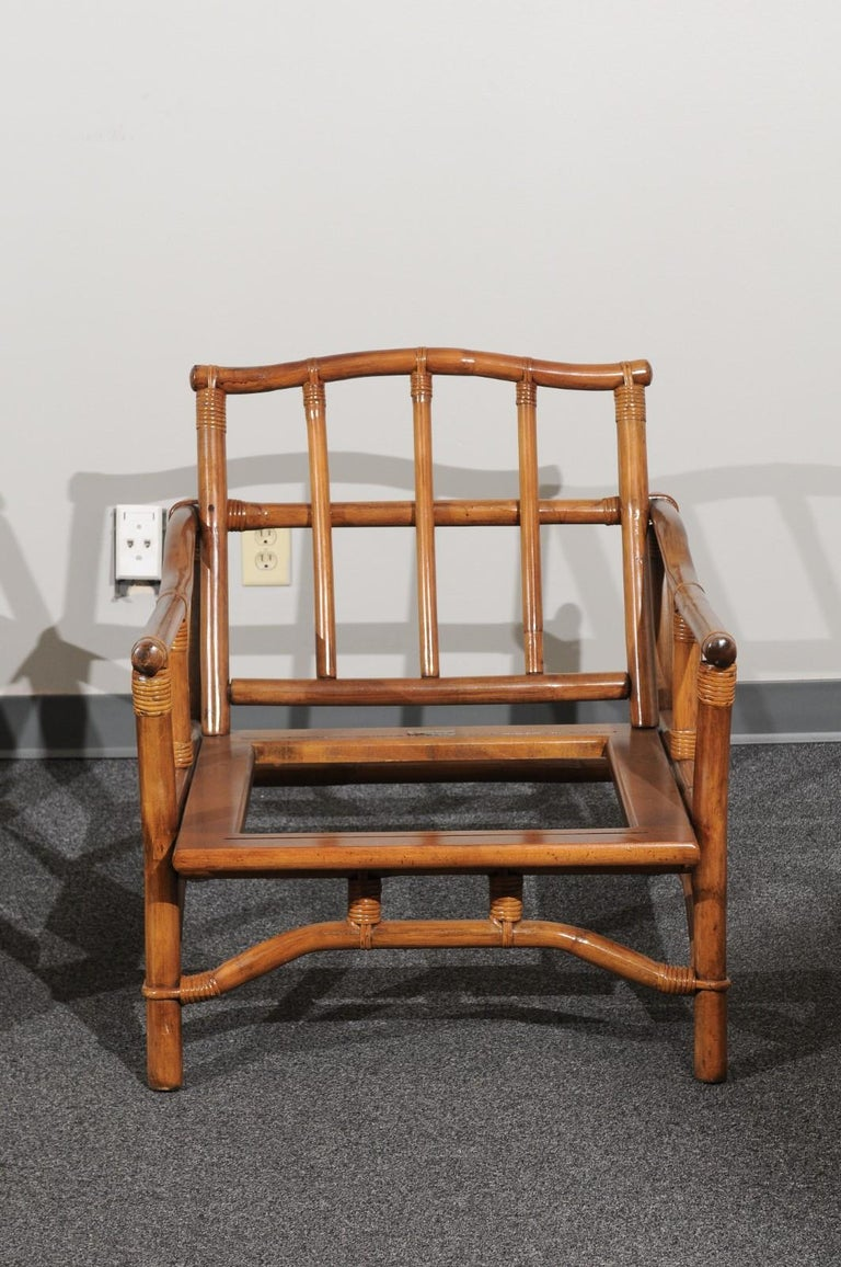 American Beautiful Restored Pair of Pagoda Style Loungers by Ficks Reed, circa 1970 For Sale