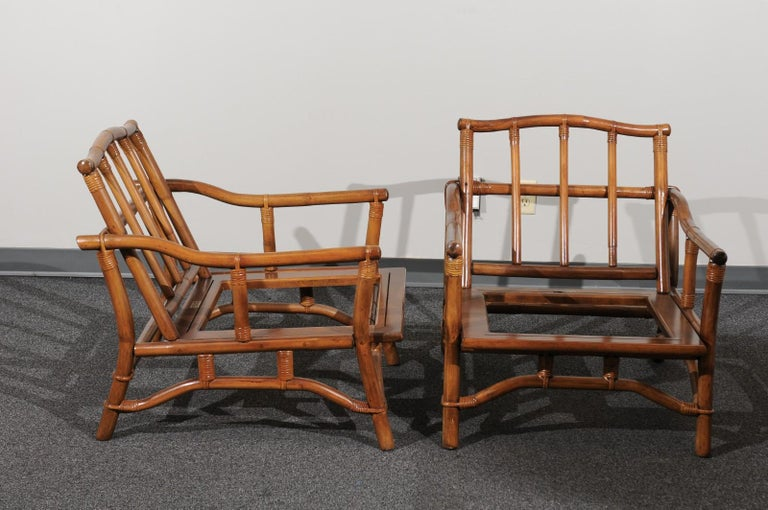 Beautiful Restored Pair of Pagoda Style Loungers by Ficks Reed, circa 1970 In Excellent Condition For Sale In Atlanta, GA