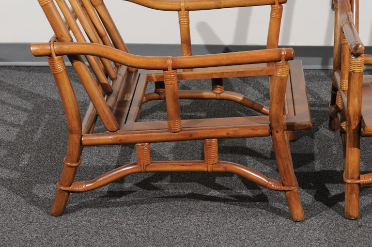 Cane Beautiful Restored Pair of Pagoda Style Loungers by Ficks Reed, circa 1970 For Sale