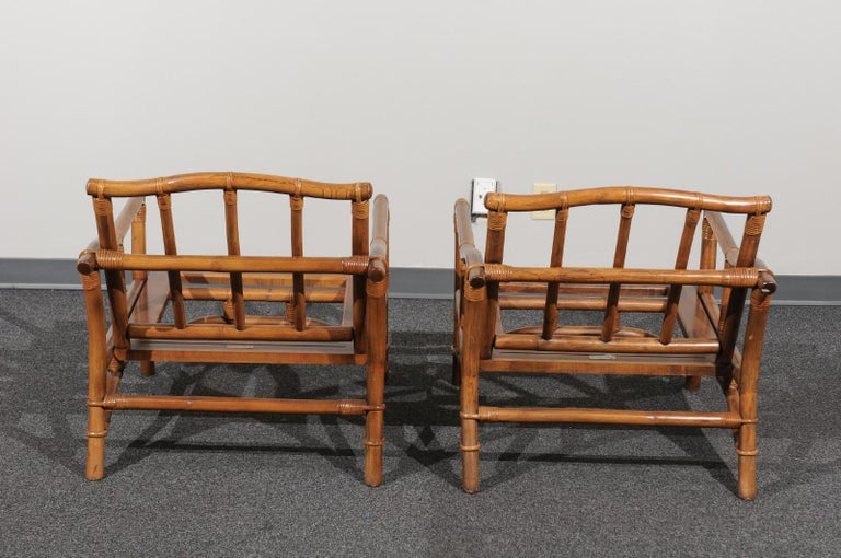 Beautiful Restored Pair of Pagoda Style Loungers by Ficks Reed, circa 1970 For Sale 2