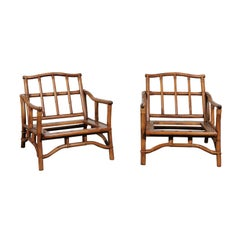 Beautiful Restored Pair of Pagoda Style Loungers by Ficks Reed, circa 1970