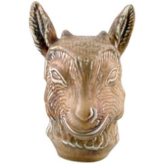 Beautiful Rörstrand Stoneware Figure by Gunnar Nylund, Young Goat Head, 1950s