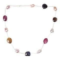 Beautiful Rose Gold Necklace with Multicolored Sapphire Slices and Large Pearls