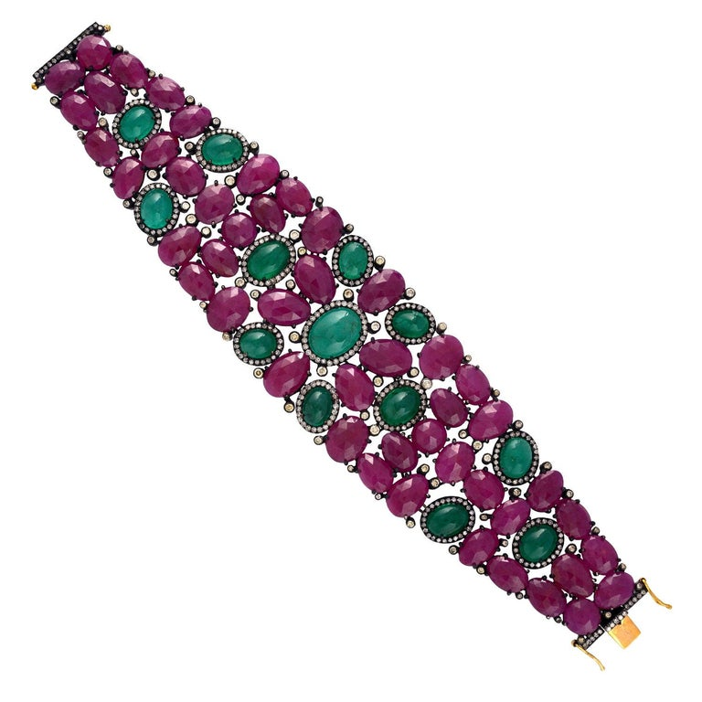 Beautiful Ruby and Emerald Cabochon Bracelet For Sale