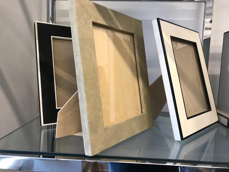 American Beautiful Sage Shagreen Picture Frame For Sale