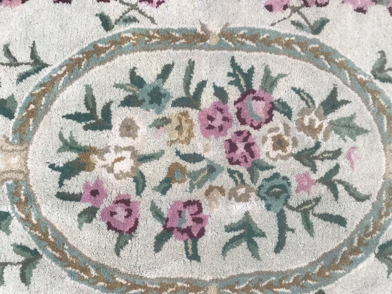 Beautiful Savonnerie Style Hand Tufted Rug For Sale 2