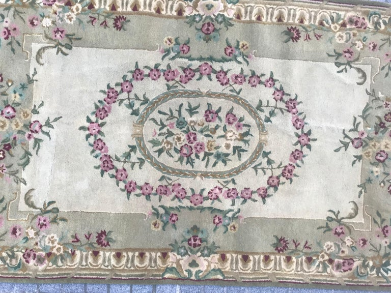 Nice hand tufted rug with a Savonnerie or Aubusson design Wool velvet.