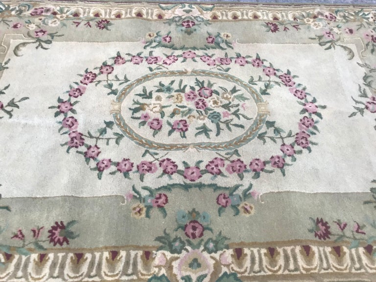 Wool Beautiful Savonnerie Style Hand Tufted Rug For Sale