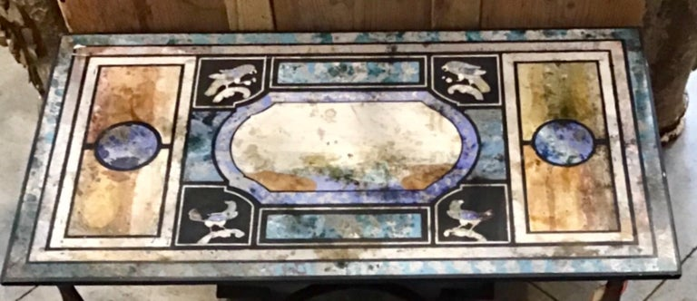 Italian Beautiful Scagliola and Iron Coffee Table For Sale