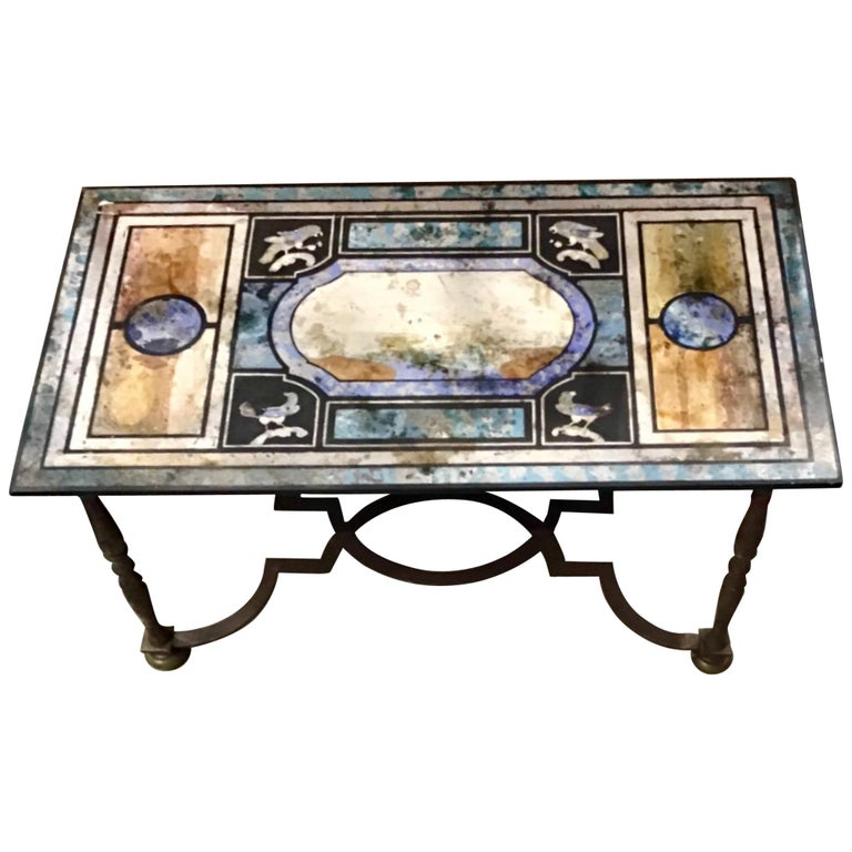 Beautiful Scagliola and Iron Coffee Table For Sale