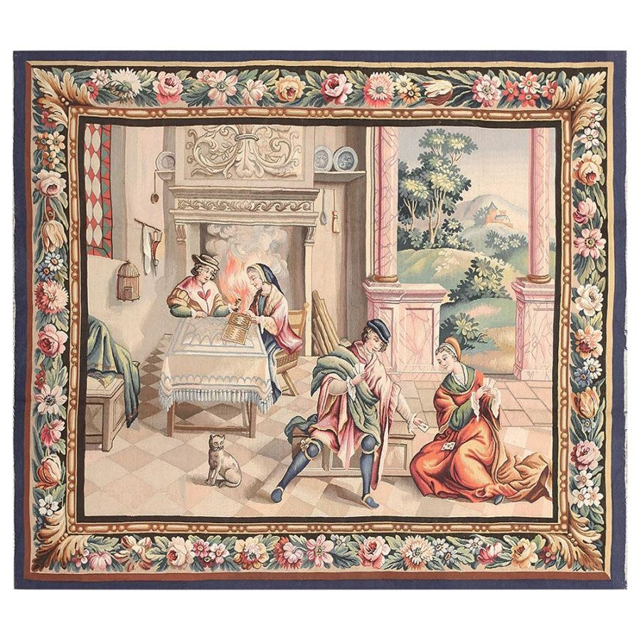Beautiful Scenic Antique French Tapestry. Size: 5 ft 7 in x 5 ft
