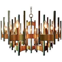 Beautiful Sciolari Fifteen-Light Design Chandelier in Brass and Chrome