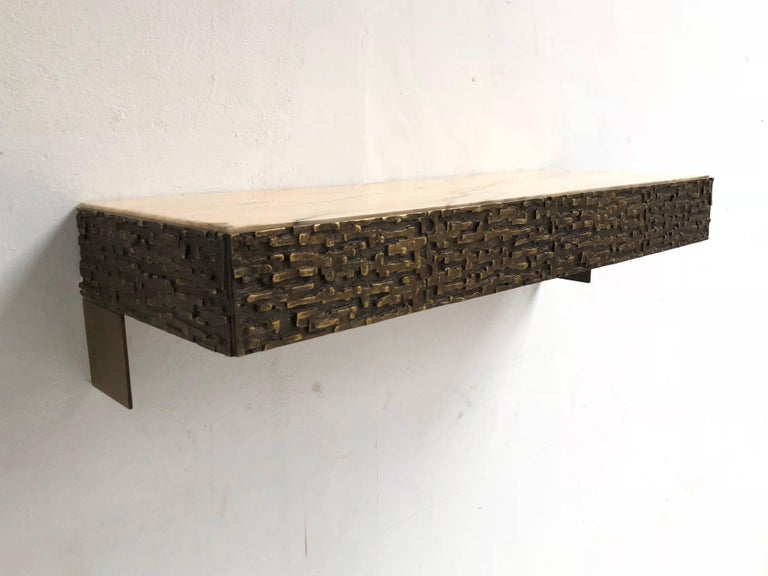 Beautiful Sculptural Bronze Relief Console by Luciano Frigerio, 1965, Italy For Sale 8