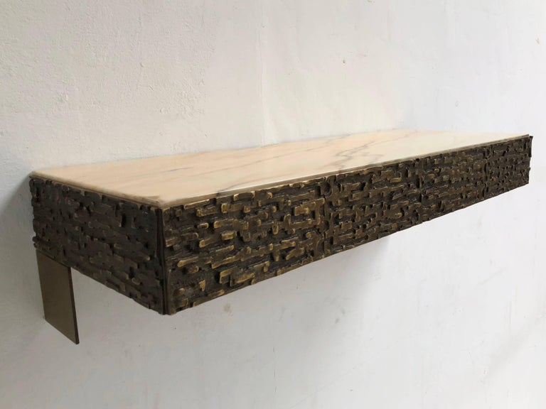 Mid-Century Modern Beautiful Sculptural Bronze Relief Console by Luciano Frigerio, 1965, Italy For Sale
