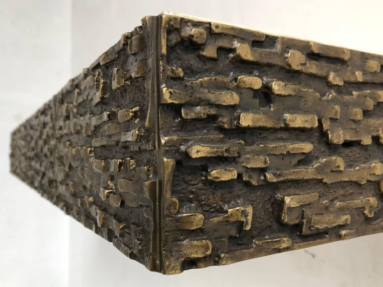 Cast Beautiful Sculptural Bronze Relief Console by Luciano Frigerio, 1965, Italy For Sale