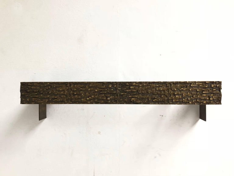 Mid-20th Century Beautiful Sculptural Bronze Relief Console by Luciano Frigerio, 1965, Italy For Sale