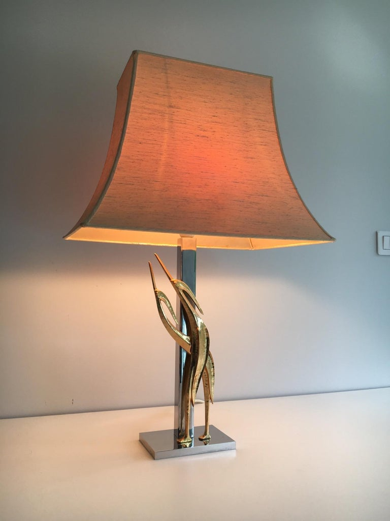 Beautiful Sculptural Lamp with Birds, Bronze and Chrome, circa 1970 For Sale 3