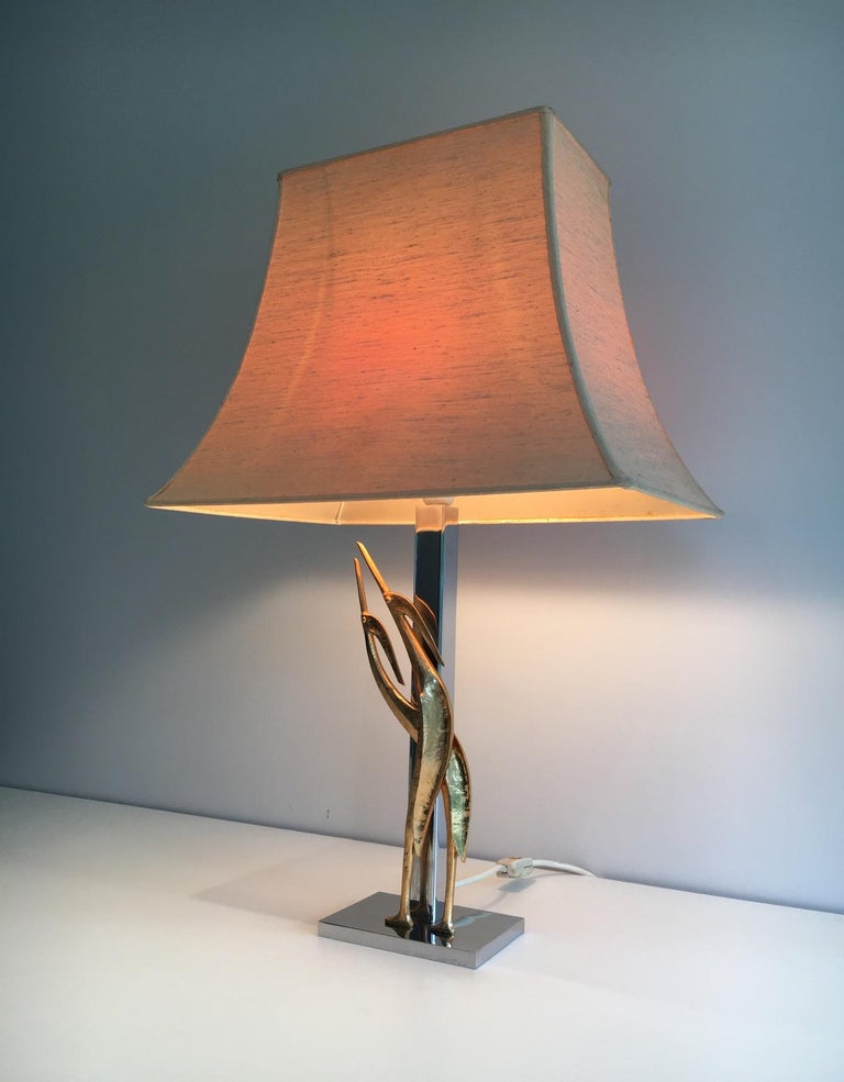 Beautiful Sculptural Lamp with Birds, Bronze and Chrome, circa 1970 For Sale 4