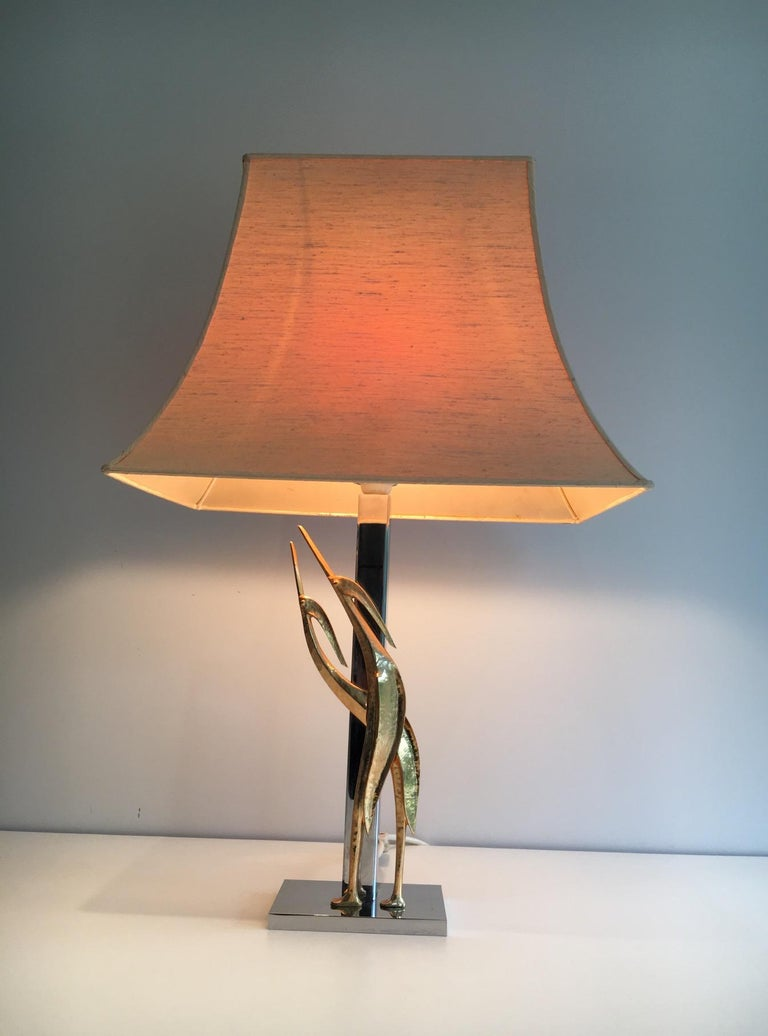 Beautiful Sculptural Lamp with Birds, Bronze and Chrome, circa 1970 For Sale 5