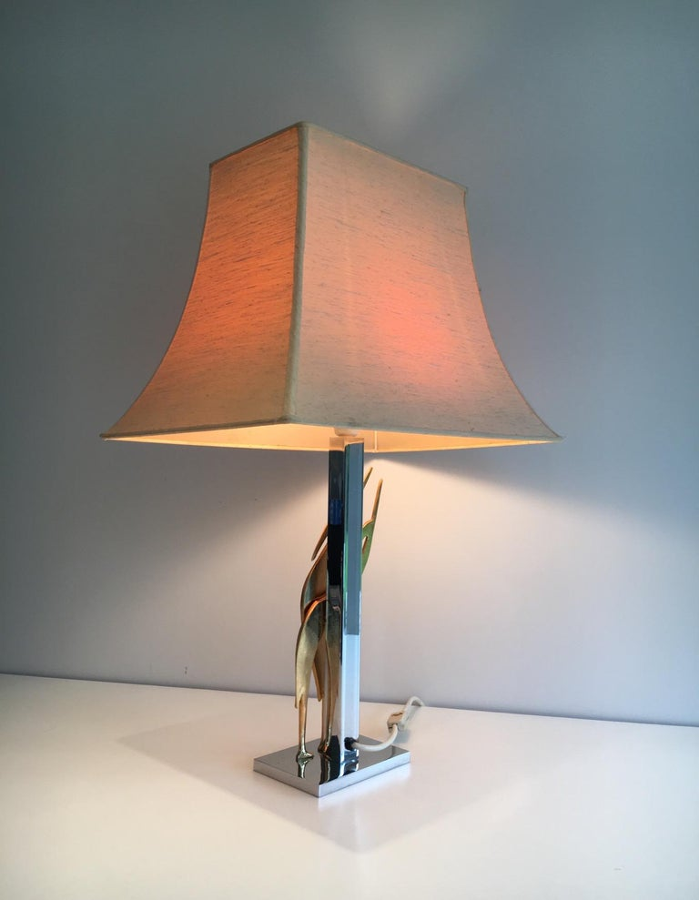 Beautiful Sculptural Lamp with Birds, Bronze and Chrome, circa 1970 For Sale 6