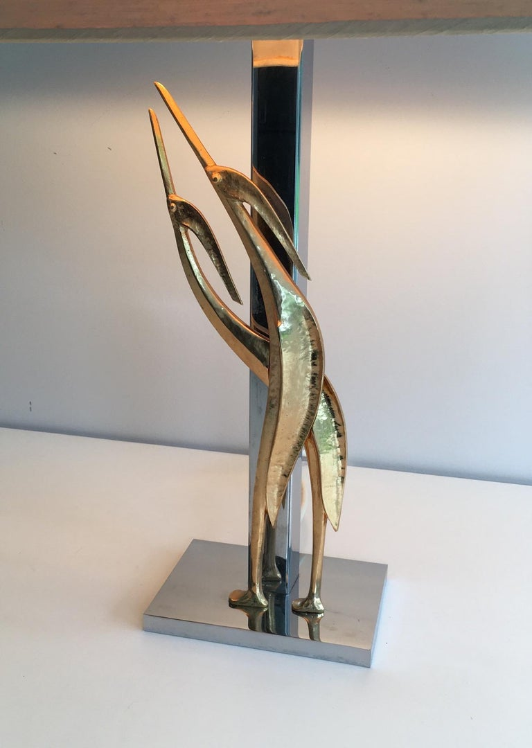 Beautiful Sculptural Lamp with Birds, Bronze and Chrome, circa 1970 For Sale 9