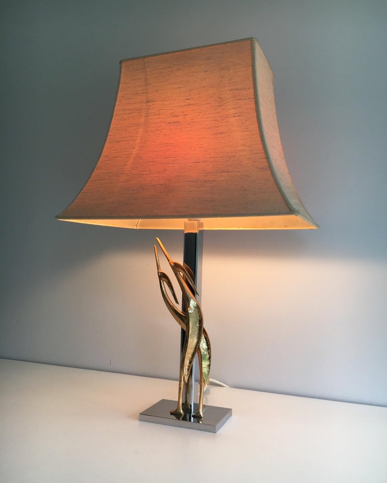 Beautiful Sculptural Lamp with Birds, Bronze and Chrome, circa 1970 For Sale 10