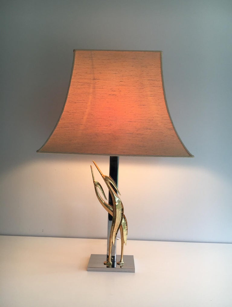 Beautiful Sculptural Lamp with Birds, Bronze and Chrome, circa 1970 For Sale 11