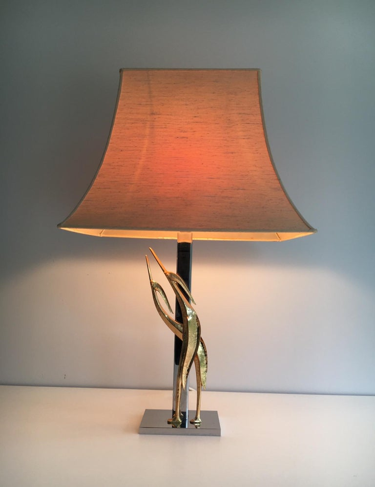 Beautiful Sculptural Lamp with Birds, Bronze and Chrome, circa 1970 For Sale 12