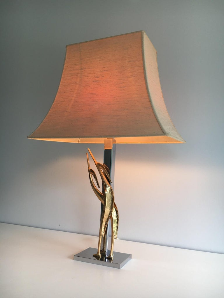Mid-Century Modern Beautiful Sculptural Lamp with Birds, Bronze and Chrome, circa 1970 For Sale