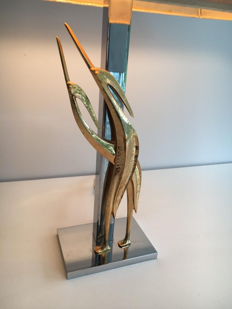 Bronzed Beautiful Sculptural Lamp with Birds, Bronze and Chrome, circa 1970 For Sale