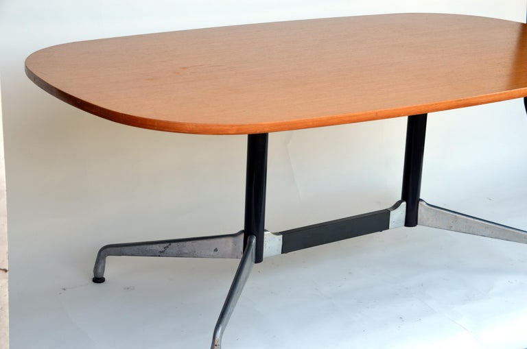 Modern Beautiful Segmented Base and Bamboo Top Table by Eames for Herman Miller For Sale