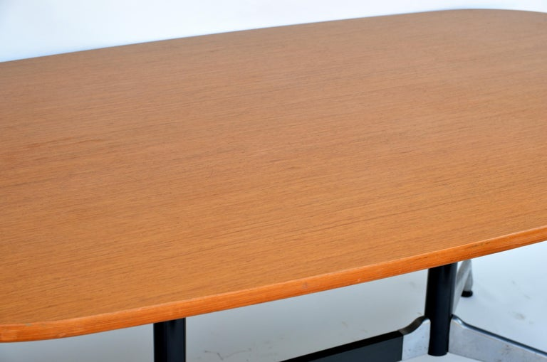 Cast Beautiful Segmented Base and Bamboo Top Table by Eames for Herman Miller For Sale