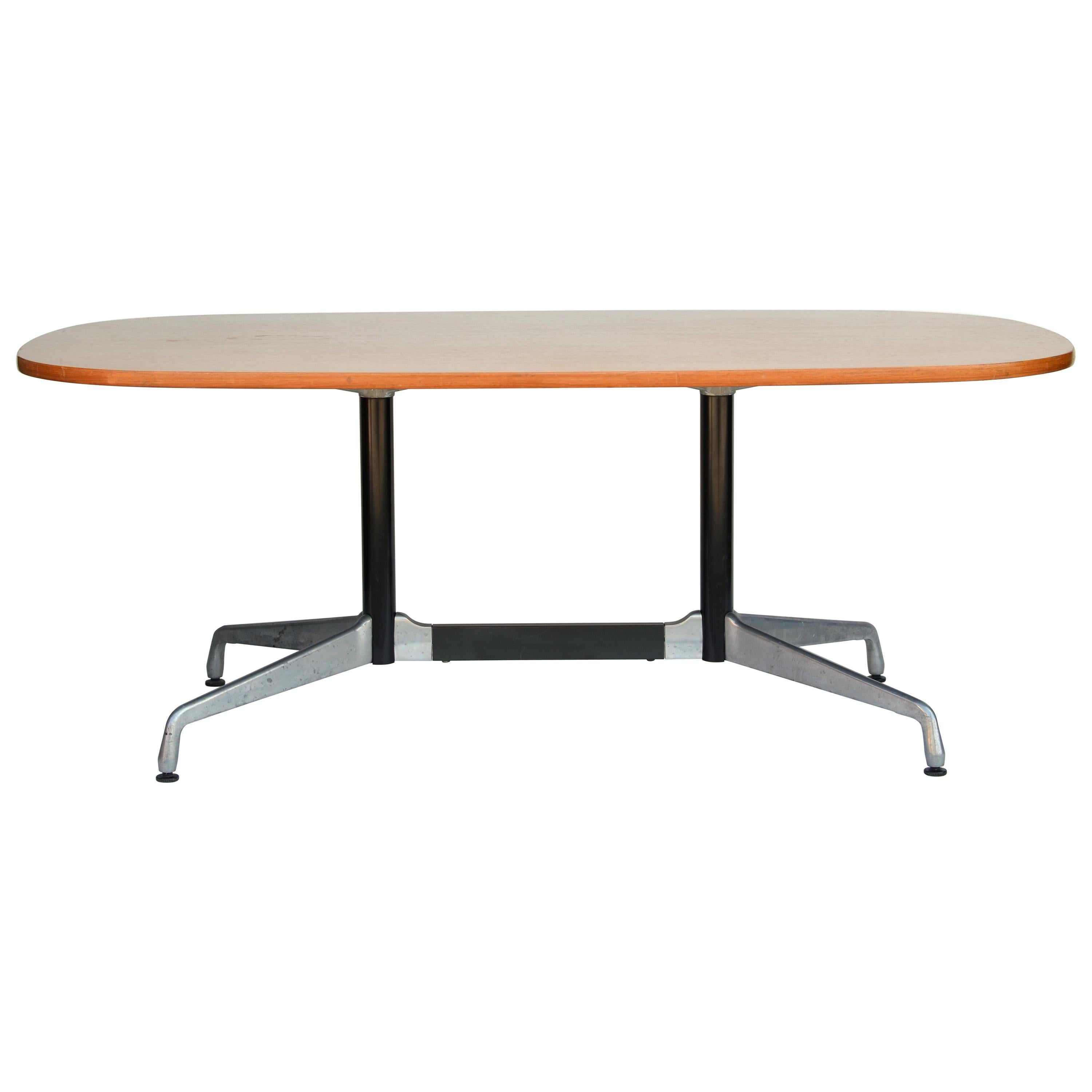 Beautiful Segmented Base and Bamboo Top Table by Eames for Herman Miller