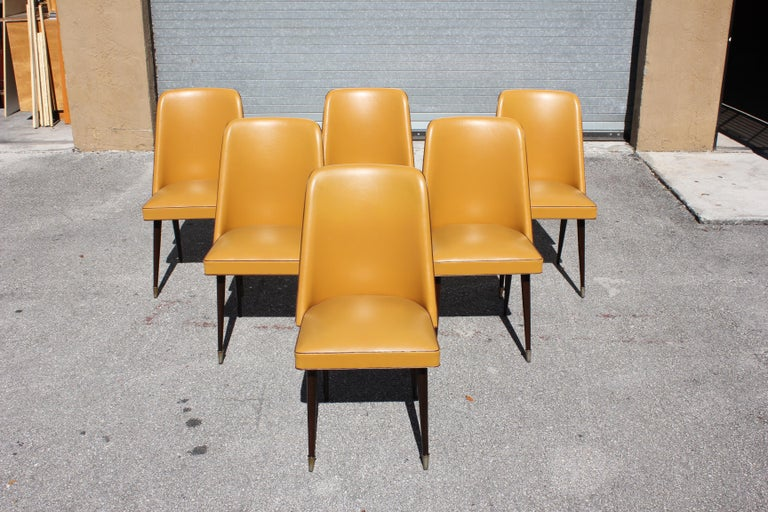 Beautiful Set of 6 French Art Deco Solid Mahogany Gondola Dining Chairs For Sale 15