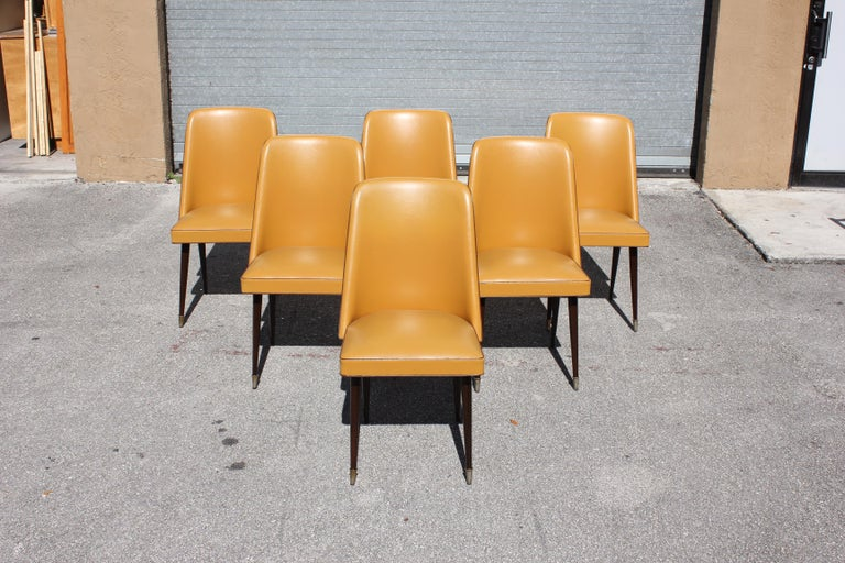 Beautiful Set of 6 French Art Deco Solid Mahogany Gondola Dining Chairs In Excellent Condition For Sale In Hialeah, FL