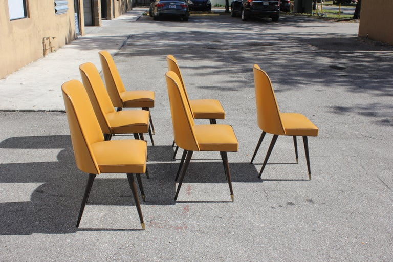 Mid-20th Century Beautiful Set of 6 French Art Deco Solid Mahogany Gondola Dining Chairs For Sale