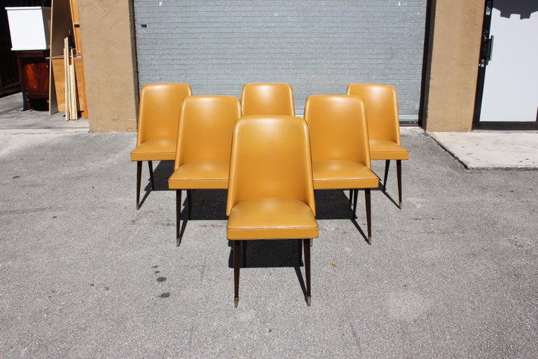 Beautiful Set of 6 French Art Deco Solid Mahogany Gondola Dining Chairs For Sale 2