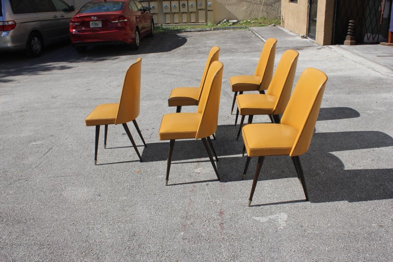 Beautiful Set of 6 French Art Deco Solid Mahogany Gondola Dining Chairs For Sale 3